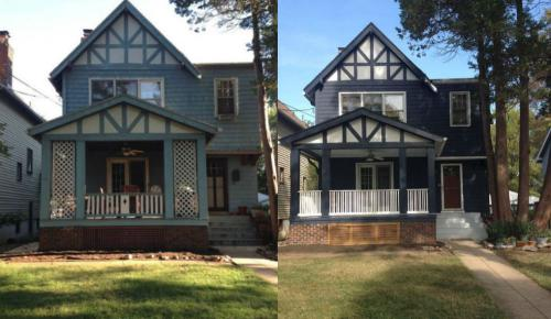 DC single family house before and after light blue to dark blue