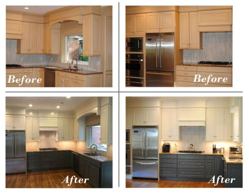 Light wood cabinets with large frig, top cabinets white, bottom cabinets blue gray
