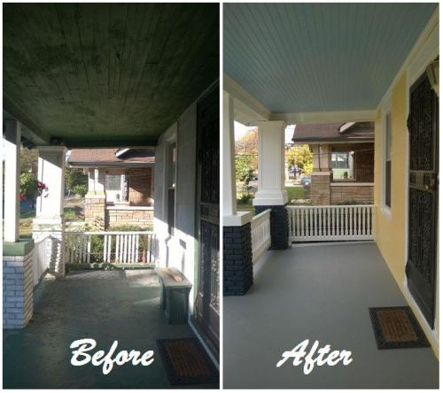 Same house with before and after of front porch repairs and painting