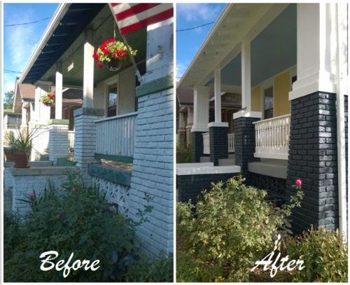Before and after Front porch of house, flag and flowers